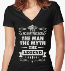 SKI INSTRUCTOR THE LEGEND Women's Fitted V-Neck T-Shirt