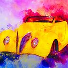 1937 Ford Roadster Yellow Watercolour by ChasSinklier