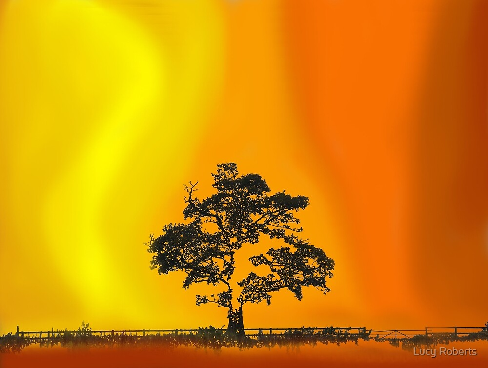 Tree photograph on a PS painted background by Lucy Roberts