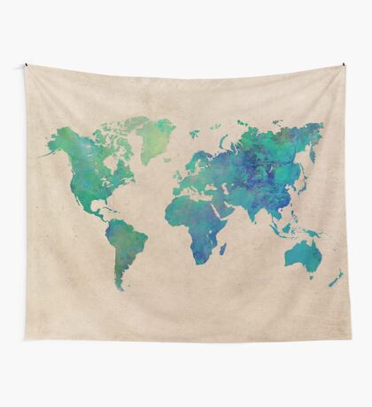 world map 95 green #worldmap #map Wall Tapestry