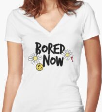 Bored Now Women's Fitted V-Neck T-Shirt