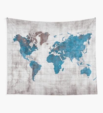 world map 96 blue #worldmap #map  Wall Tapestry