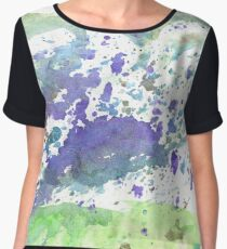 Abstract green and violet watercolor. The color splashing on the paper. Hand drawn. Chiffon Top