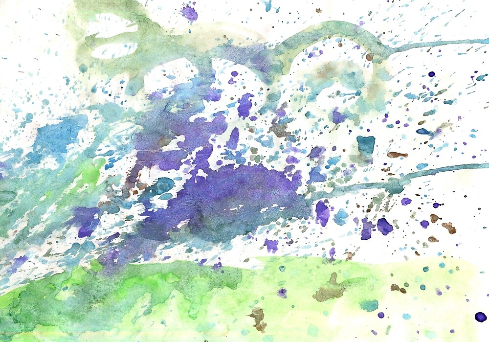 Abstract green and violet watercolor. The color splashing on the paper. Hand drawn. by NataliMya