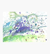 Abstract green and violet watercolor. The color splashing on the paper. Hand drawn. Photographic Print