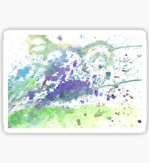 Abstract green and violet watercolor. The color splashing on the paper. Hand drawn. Sticker