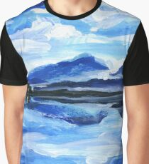 Original Oil Painting of the twilight on mountain lake. Altai Graphic T-Shirt