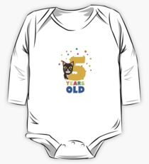 Five Years fifth Birthday Party Cat R3mib One Piece - Long Sleeve