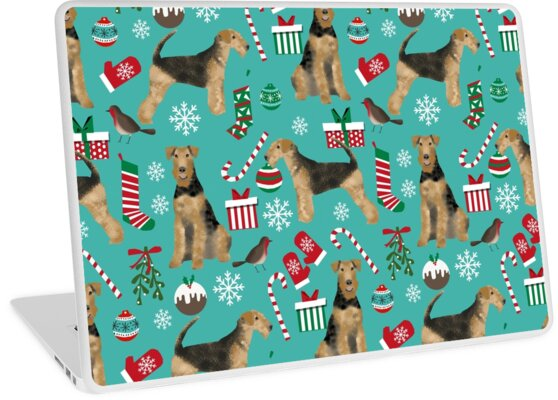 Airedale Terrier Dog christmas presents pattern dog breed customized pet portrait by pet friendly by PetFriendly