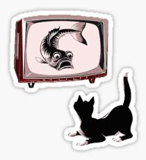 Fish and Cat  Sticker
