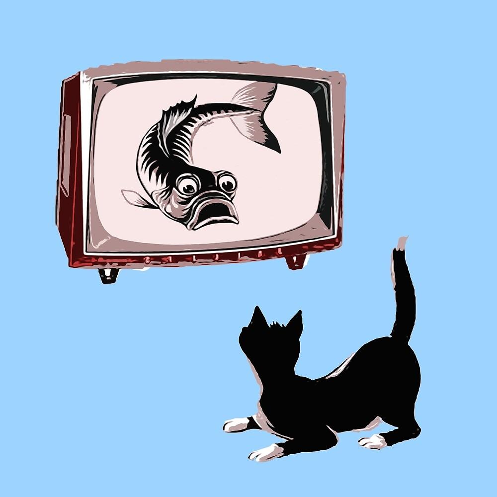 Fish and Cat  by Andrea Mazzocchetti