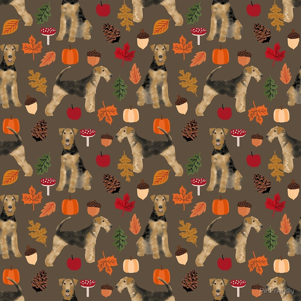Airedale Terrier Dog fall autumn pattern dog breed customized pet portrait by pet friendly by PetFriendly
