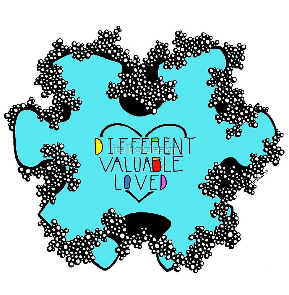 Autism Awareness - Different Valuable Blessed by jtalbotdesign