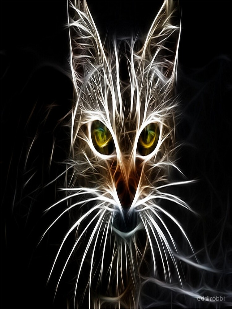 cat, white, neon, fractal, psychedelic, art, animal, wild,  by eddirobbi