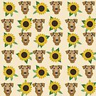 Airedale Terrier Dog sunflower florals pattern dog breed customized pet portrait by pet friendly by PetFriendly