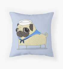 Sailor Pug Throw Pillow