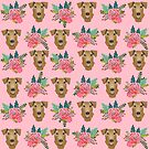 Airedale Terrier Dog bouquet florals pattern dog breed customized pet portrait by pet friendly by PetFriendly