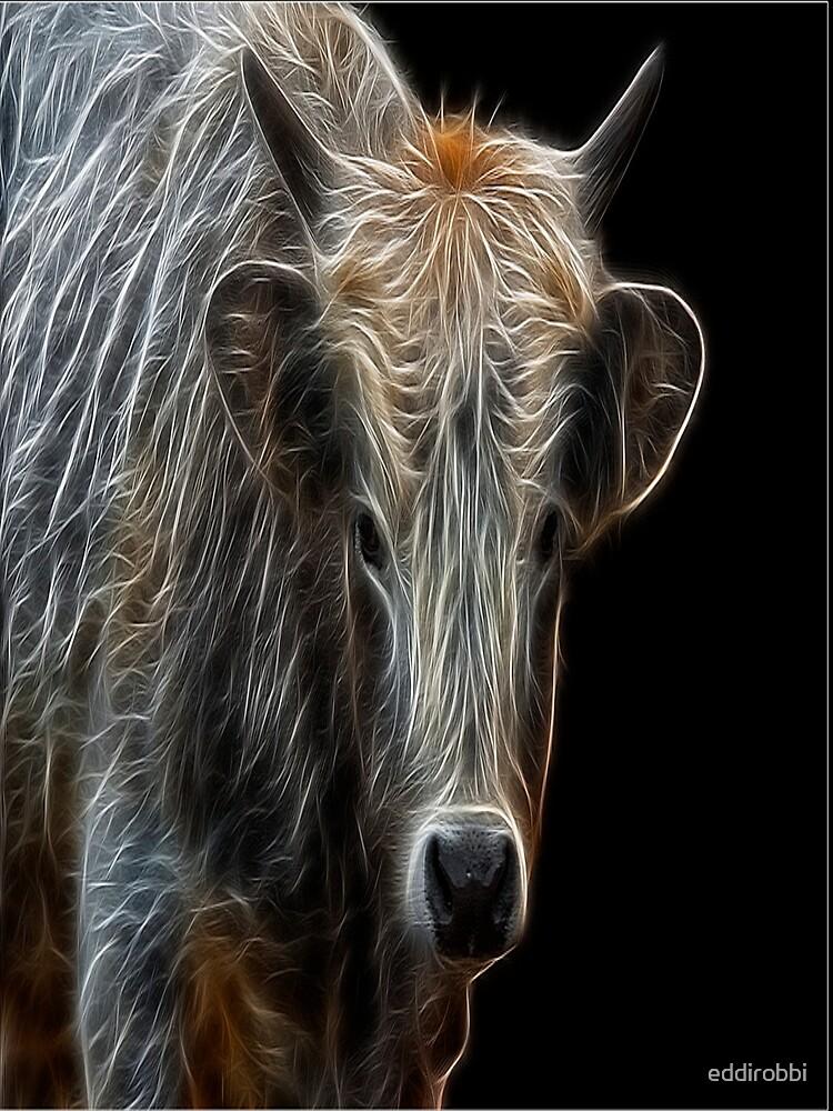 bull, cow, cattle, white, neon, fractal, psychedelic, art, animal, wild, black by eddirobbi
