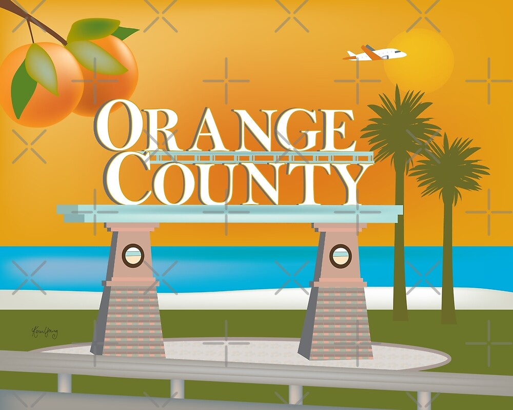 Orange County, California - Skyline Illustration by Loose Petals by LoosePetals