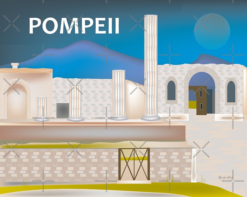 Pompeii, Italy - Skyline Illustration by Loose Petals by LoosePetals