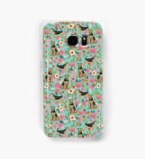Airedale Terrier Dog florals pattern dog breed customized pet portrait by pet friendly Samsung Galaxy Case/Skin