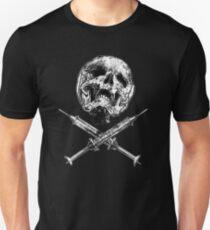 Skull with Crossed Syringes Unisex T-Shirt