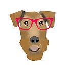 Airedale Terrier beach summer glasses cute dog breed design illustration by PetFriendly
