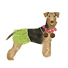 Airedale Terrier summer hula hawaii cute dog breed design illustration by PetFriendly