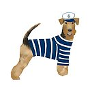 Airedale Terrier summer sailor cute dog breed design illustration by PetFriendly