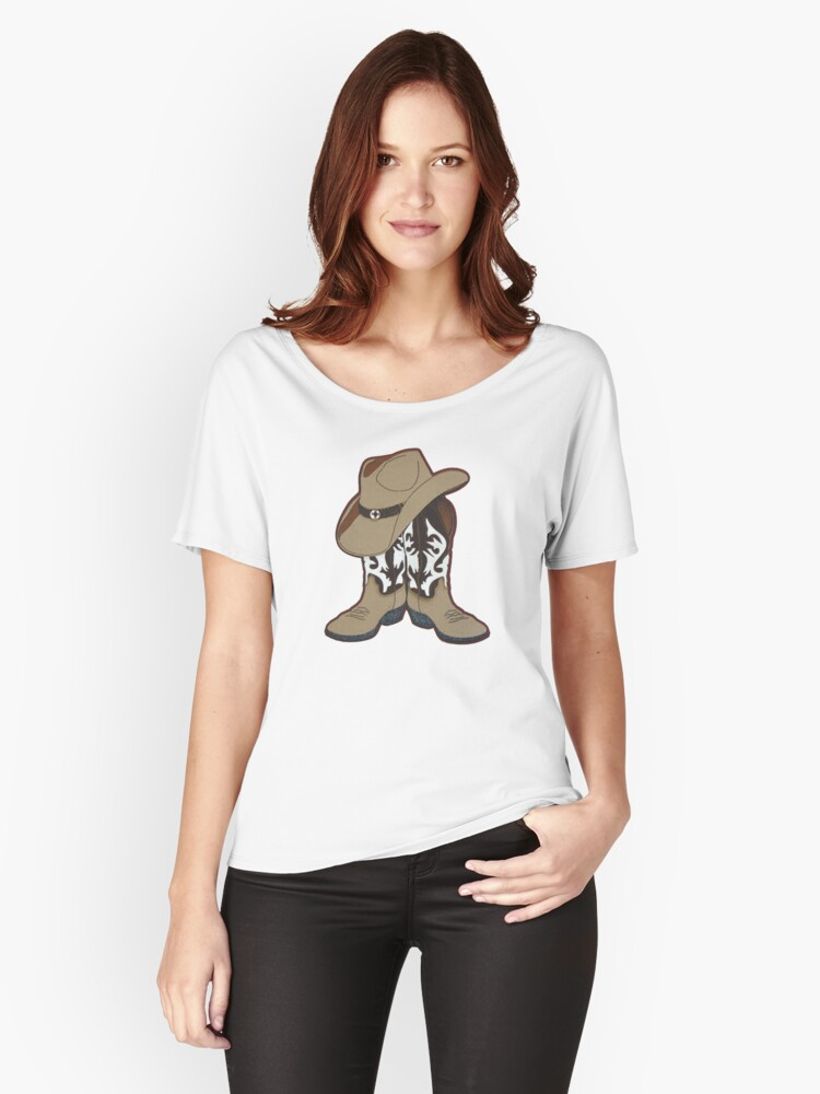 Country Time Boots and Hat Women's Relaxed Fit T-Shirt Front