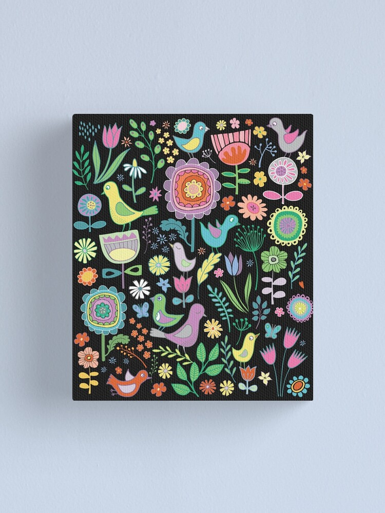 Alternate view of Birds and blooms - pastels on black - pretty floral bird pattern by Cecca Designs Canvas Print