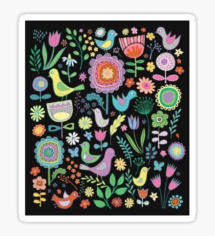 Birds and blooms - pastels on black - pretty floral bird pattern by Cecca Designs Sticker