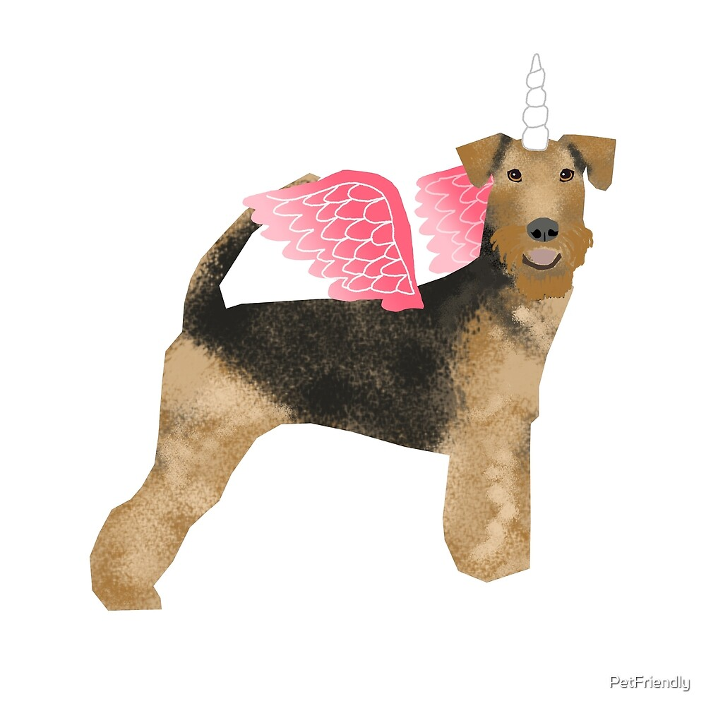 Airedale Terrier unicorn magic cute dog breed design illustration by PetFriendly