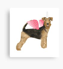 Airedale Terrier unicorn magic cute dog breed design illustration Canvas Print