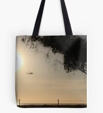 Helicopter Flying California Shoreline Tote Bag