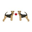 Airedale Terrier love valentine heart cute dog breed design illustration by PetFriendly