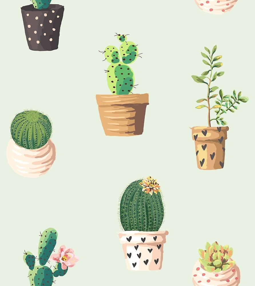 Cute Green Cactus Pattern by acanthic