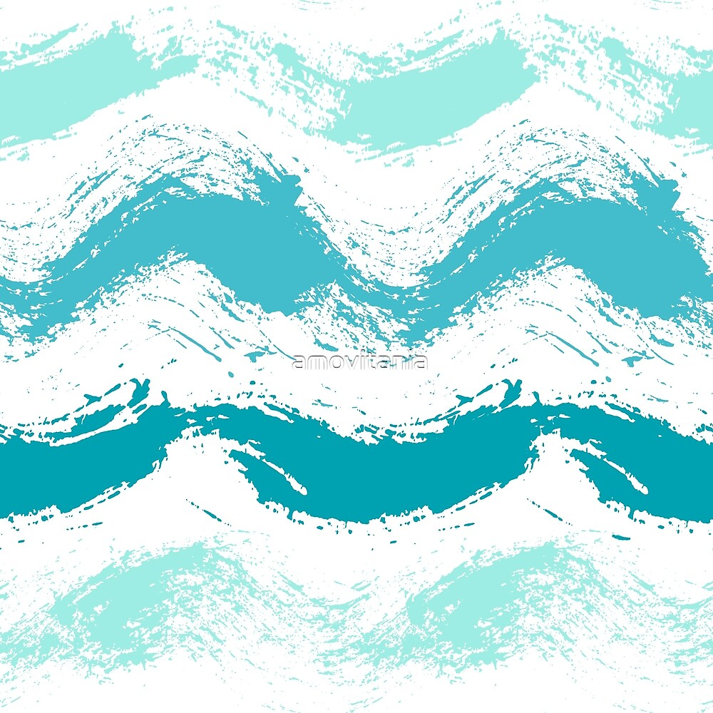 Painted Sea Waves Pattern Background by amovitania