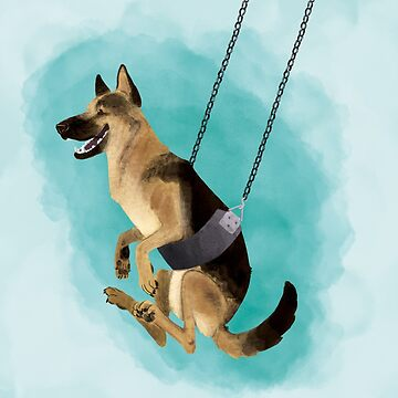 Summer Dog: German Shepherd Swinging by leslieawicke