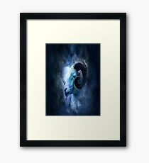 ram, zodiac, aries, smoke, ghost, abstract, colorful, waves, white, neon, fractal, psychedelic, art, wild, black Framed Print