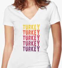 Turkey Color Women's Fitted V-Neck T-Shirt