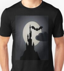 bats, horror, fog, castle, vampire, smoke, ghost, abstract, colorful, waves, white, neon, fractal, psychedelic, art, wild, black Unisex T-Shirt