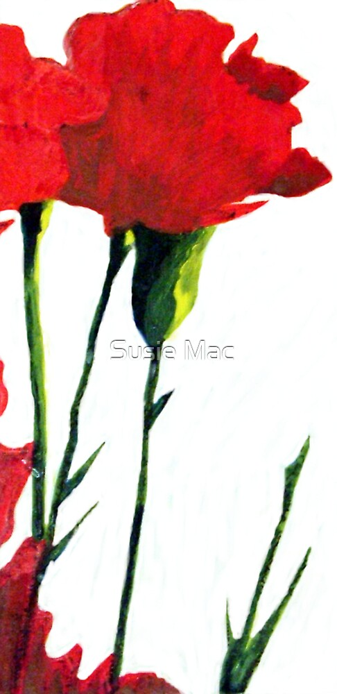 Red Carnations by Susie Mac