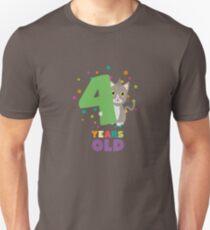 Four Years fourth Birthday Party Cat R0sab Unisex T-Shirt