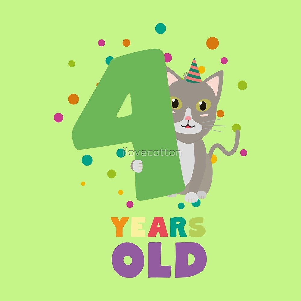 Four Years fourth Birthday Party Cat R0sab by ilovecotton