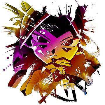 Dragon Ball Caulifla Splash Paint by TeeGrayWolf