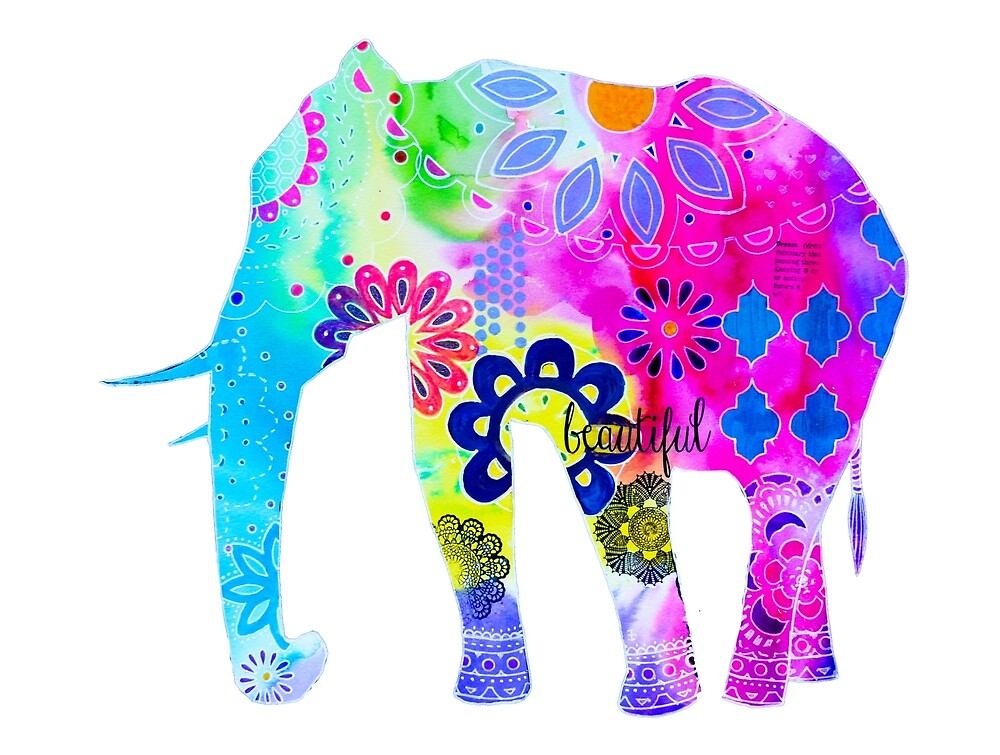 Colorful Elephant Mixed Media Painting by MandalaArts