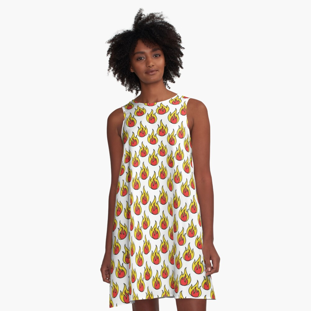 fire seamless doodle pattern A-Line Dress Front