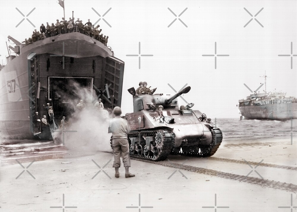 Tanks Disembark onto Beach D-Day by diane  addis