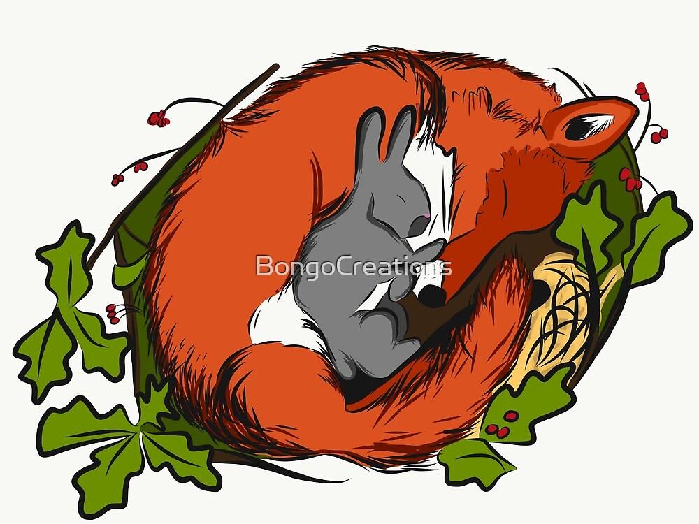 Sleeping Fox and Bunny by BongoCreations
